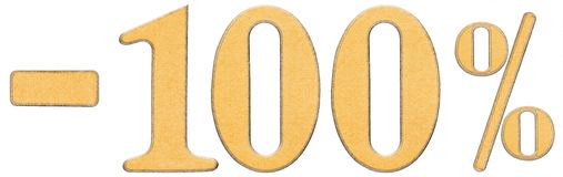 Por cento fora disconto Menos 100 cem por cento, numerais mim Imagens de Stock