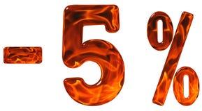 Por cento fora disconto Menos 5, cinco por cento, numerais isolados Fotos de Stock Royalty Free