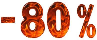 Por cento fora disconto Menos 80, oitenta por cento, isola dos numerais Fotos de Stock Royalty Free