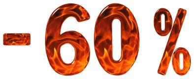 Por cento fora disconto Menos 60, sessenta por cento, isolat dos numerais Imagens de Stock Royalty Free