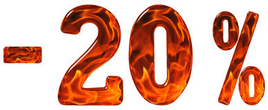 Por cento fora disconto Menos 20, vinte por cento, isola dos numerais Imagem de Stock
