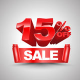 15 por cento fora do estilo vermelho do rolo 3D da bandeira da fita da venda Fotografia de Stock Royalty Free