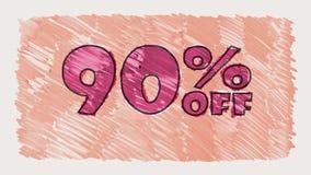 90 por cento fora do marcador do disconto na animação sem emenda tirada desenhos animados do laço do texto do quadro-negro - vint video estoque