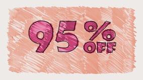 95 por cento fora do marcador do disconto na animação sem emenda tirada desenhos animados do laço do texto do quadro-negro - vint filme