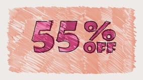 55 por cento fora do marcador do disconto na animação sem emenda tirada desenhos animados do laço do texto do quadro-negro - vint filme