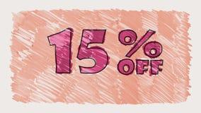 15 por cento fora do marcador do disconto na animação sem emenda tirada desenhos animados do laço do texto do quadro-negro - vint filme