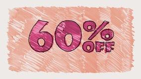 60 por cento fora do marcador do disconto na animação sem emenda tirada desenhos animados do laço do texto do quadro-negro - vint filme