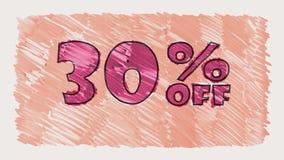30 por cento fora do marcador do disconto na animação sem emenda tirada desenhos animados do laço do texto do quadro-negro - vint filme