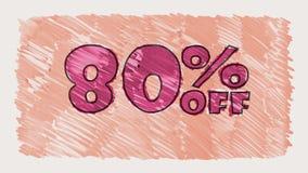 80 por cento fora do marcador do disconto na animação sem emenda tirada desenhos animados do laço do texto do quadro-negro - vint video estoque
