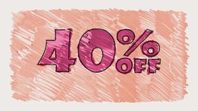 40 por cento fora do marcador do disconto na animação sem emenda tirada desenhos animados do laço do texto do quadro-negro - vint vídeos de arquivo