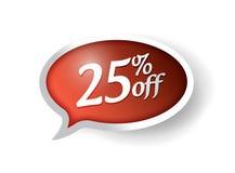 25 por cento fora do projeto da ilustração da bolha da mensagem Imagem de Stock Royalty Free