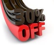 30 por cento fora do sinal relativo à promoção Foto de Stock