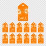 5 10 15 20 25 30 40 50 60 70 80 90 por cento fora dos ícones do vetor da etiqueta da compra Etiquetas para a venda Foto de Stock Royalty Free
