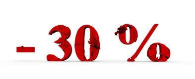 30 por cento fora, fundo da venda, objeto 3D ilustração stock