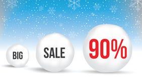 90 por cento, fundo da venda com bolas de neve e neve Venda Winte ilustração do vetor