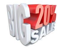 POR CENTO grandes vermelhos brancos do sinal da venda 20 3D ilustração royalty free