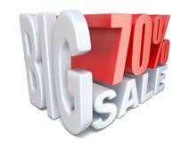 POR CENTO grandes vermelhos brancos do sinal da venda 70 3D Imagens de Stock