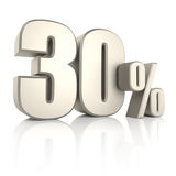 30 por cento isolados no fundo branco 3d rendem ilustração stock