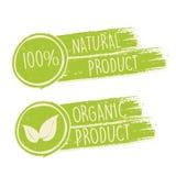 100 por cento natural e o eco amigável com folha assinam dentro dracmas verdes Ilustração Stock