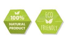 100 por cento natural e o eco amigável com folha assinam dentro o verde encantam Fotografia de Stock