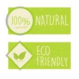 100 por cento natural e o eco amigável com folha assinam dentro a proibição verde Foto de Stock Royalty Free