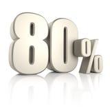 80 por cento no fundo branco 3d rendem Fotografia de Stock