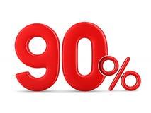 Por cento noventas no fundo branco Ilustração 3d isolada Fotos de Stock