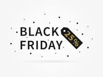Por cento pretos do sexta-feira 25 fora do disconto ilustração royalty free