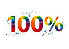 100 por cento texto colorido para sua propaganda ilustração do vetor