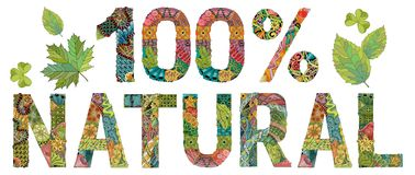 Por ciento natural de la palabra el 100 Objeto decorativo del zentangle del vector Imagenes de archivo