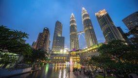 Por do sol épico e bonito em Kuala Lumpur City Centre Fotos de Stock