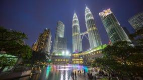 Por do sol épico e bonito em Kuala Lumpur City Centre Imagens de Stock Royalty Free
