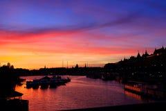 Por do sol Éstocolmo, Suécia Imagens de Stock Royalty Free