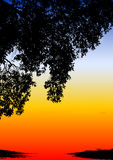 Por do sol étnico colorido Ilustração do Vetor