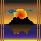 Por do sol ilustração royalty free