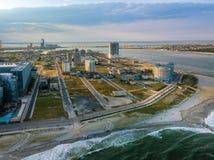 Por do sol aéreo em Atlantic City imagem de stock royalty free