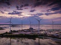 Por do sol aéreo no moinho de vento de Atlantic City foto de stock