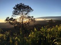 Por do sol acima da cratera de Halema'uma'u e do Mauna Loa no parque nacional dos vulcões de Havaí na ilha grande, Havaí Foto de Stock