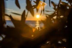 Por do sol acima da Praia do rei montenegro Imagens de Stock