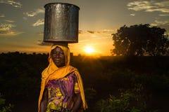 Por do sol africano Fotografia de Stock