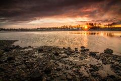 Por do sol alaranjado Fotografia de Stock Royalty Free