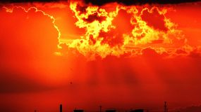 Por do sol alaranjado Imagens de Stock Royalty Free