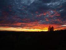 Por do sol alaranjado, amarelo, céu, nuvens, ouro Foto de Stock Royalty Free