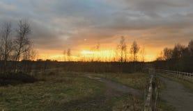 Por do sol alaranjado sobre o campo fotos de stock