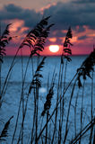 Por do sol alaranjado vermelho Fotografia de Stock Royalty Free