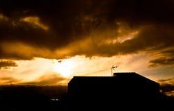 Por do sol amarelo Fotografia de Stock Royalty Free