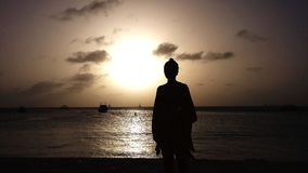 Por do sol Aruba imagens de stock royalty free