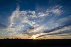 Por do sol atrasado da mola Foto de Stock