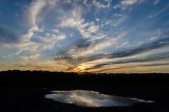 Por do sol atrasado da mola Fotografia de Stock Royalty Free