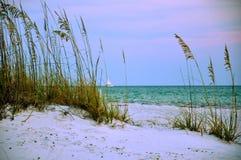 Por do sol através da aveia do mar com veleiro Fotografia de Stock Royalty Free